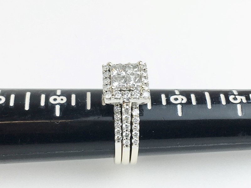 LADIES 14K WG 3 PIECE DIAMOND WEDDING SET APX 2.30CTW SIZE 7