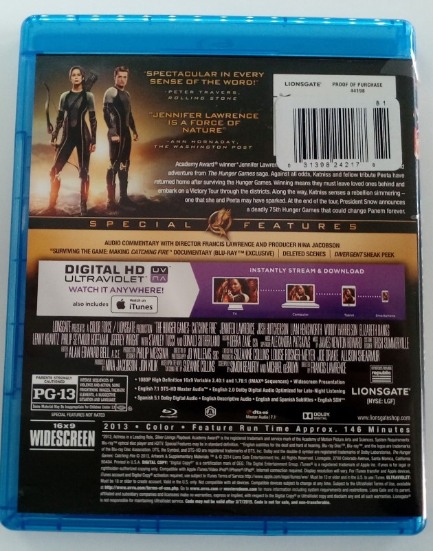 THE HUNGER GAME: CATCHING FIRE, BLU-RAY DVD MOVIE