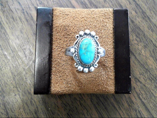 Synthetic Turquoise Lady's Silver & Stone Ring 925 Silver 2.9dwt