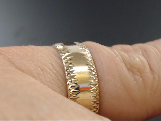 VINTAGE WEDDING RING BAND SOLID REAL 14K GOLD DESIGN EDGE SIZE 6.75