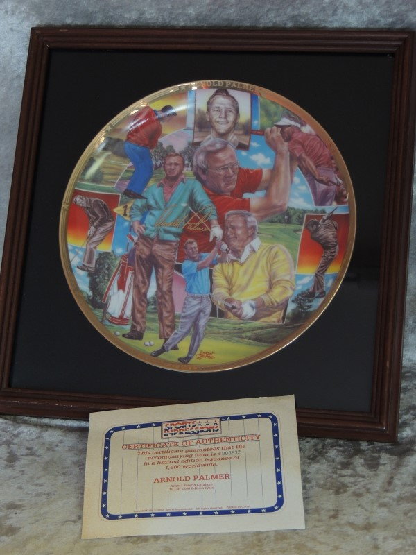 Arnold Palmer 1992 Sports Impressions Framed Plate Gold Limited Edition 10 1/4""