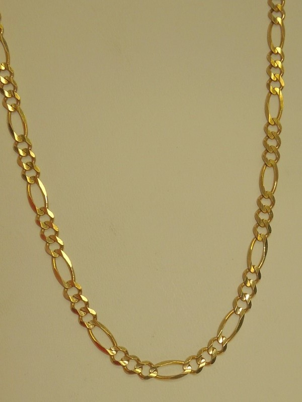 "24"" Gold Figaro Chain 14K Yellow Gold 13.7g"