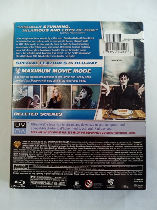 DARK SHADOWS, COMEDY BLU-RAY MOVIE STARRING JOHNNY DEPP