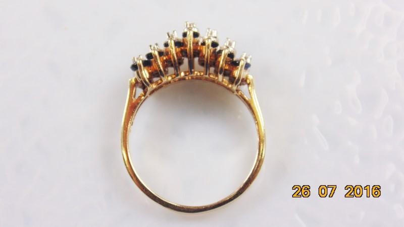 Synthetic Sapphire Lady's Stone & Diamond Ring 7 Diamonds .14 Carat T.W.