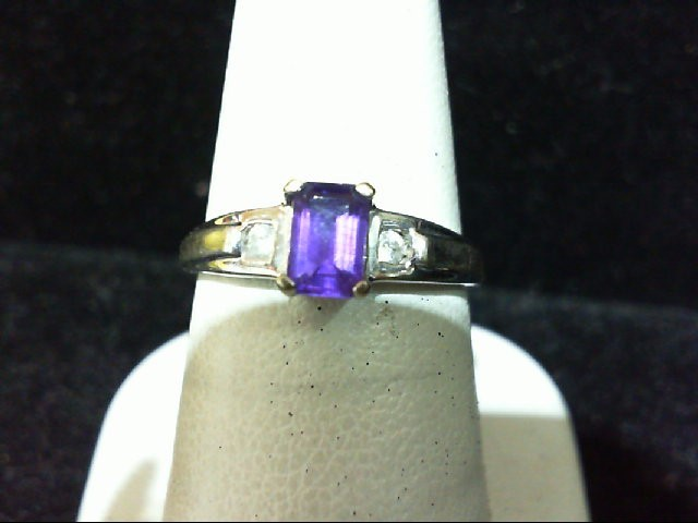 Amethyst Lady's Stone & Diamond Ring 2 Diamonds .06 Carat T.W. 10K White Gold