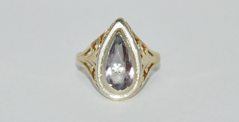 Purple Stone Lady's Stone Ring 14K Yellow Gold 3.6g