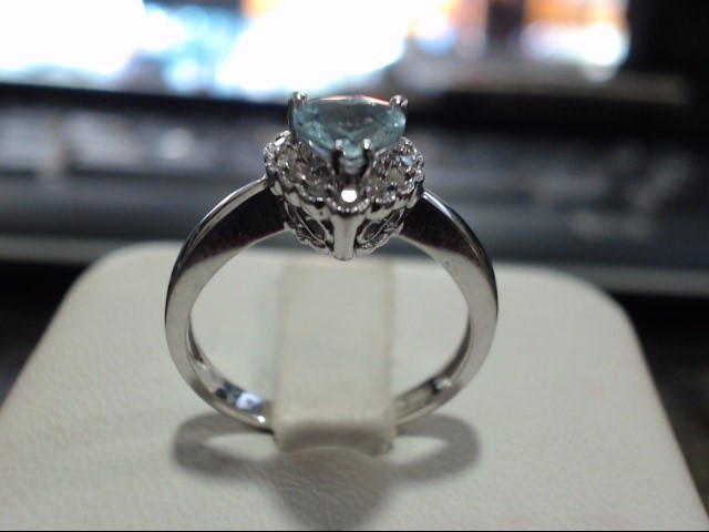 Synthetic Aquamarine Lady's Stone & Diamond Ring 14 Diamonds .126 Carat T.W.
