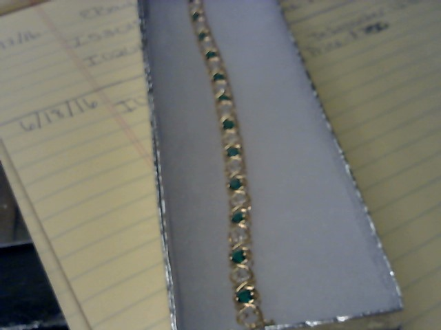 Synthetic Emerald Gold-Diamond & Stone Bracelet 13 Diamonds .13 Carat T.W.
