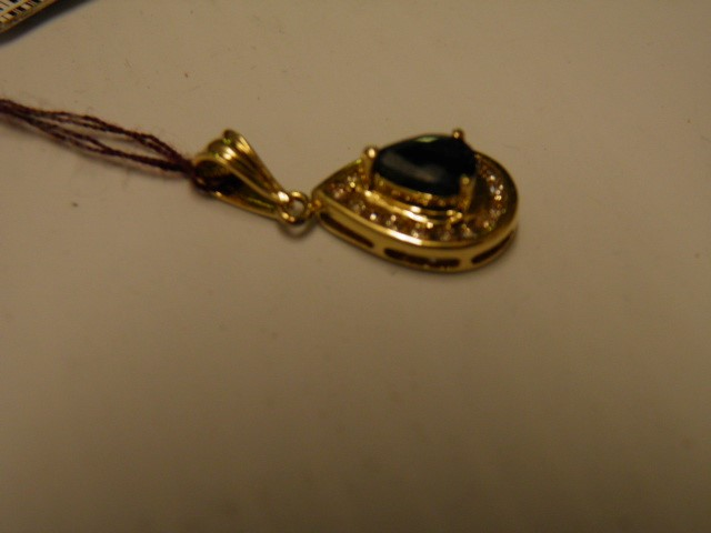 Blue Stone Gold-Diamond & Stone Pendant 17 Diamonds 1.36 Carat T.W.