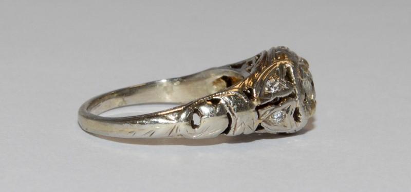 14K Vintage Inspired Filigree White Gold & Round Diamond Ring Size 3.5