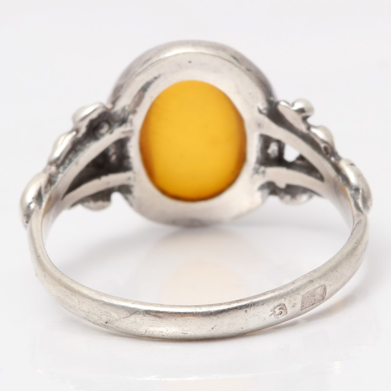 Sterling Silver Oval Cut Amber Ring Size 8