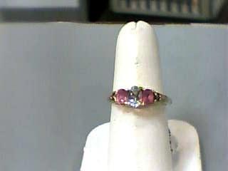 Synthetic Aquamarine Lady's Stone Ring 10K Yellow Gold 1.3dwt Size:7.3