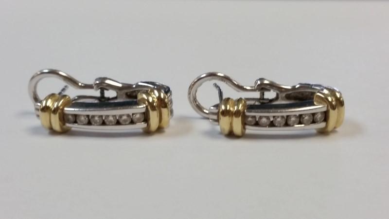Gold-Diamond Earrings 12 Diamonds .36 Carat T.W. 14K 2 Tone Gold 6.2g