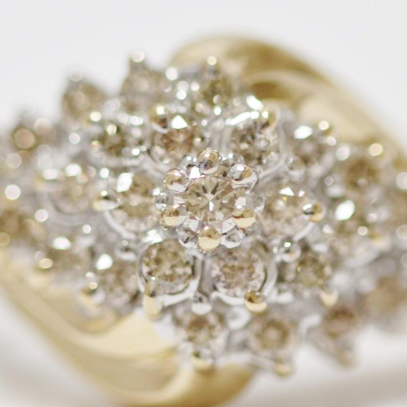 10K 2-Tone Gold Round Brilliant Diamond Cluster Ring Size 9