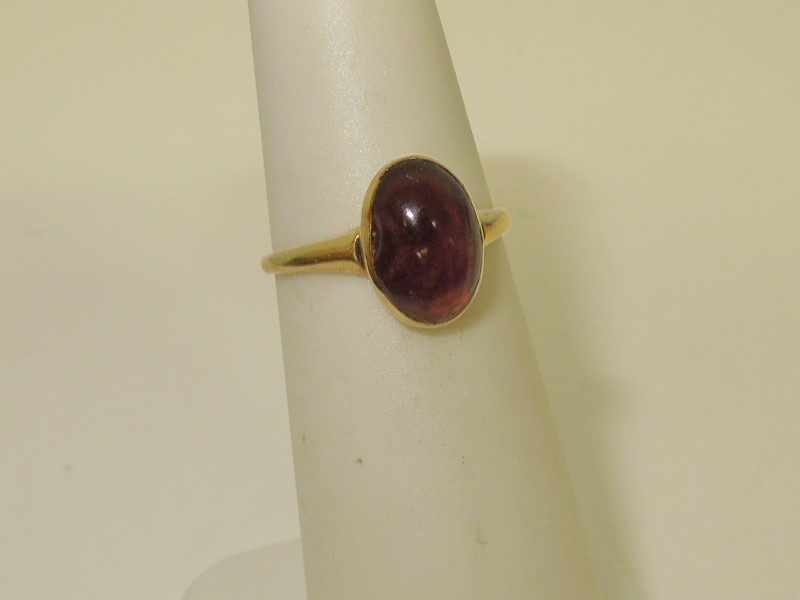 Synthetic Amethyst Lady's Stone Ring 10K Yellow Gold 1.2g