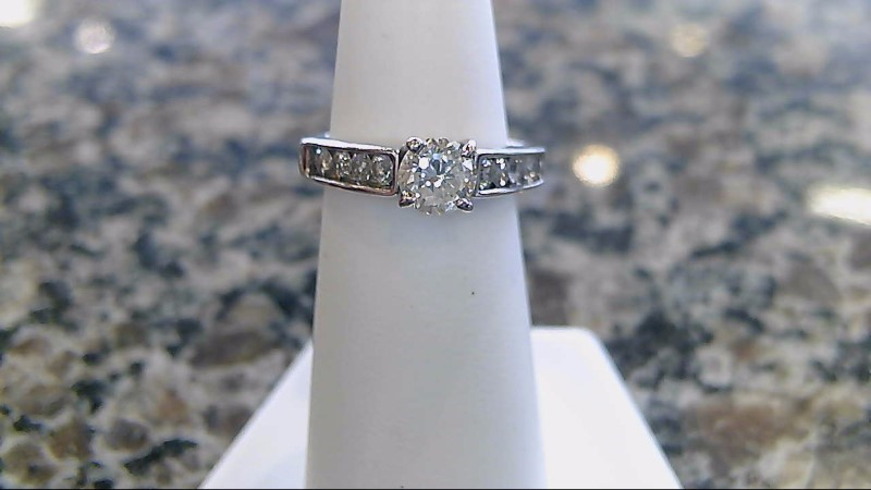 Lady's Diamond Engagement Ring 9 Diamonds .86 Carat T.W. 14K White Gold 3.6g