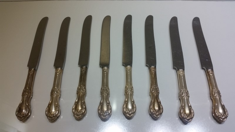 "Lot of 8 International Silver 9-1/4"" Hollow Place Setting Knife *NO MONO*"