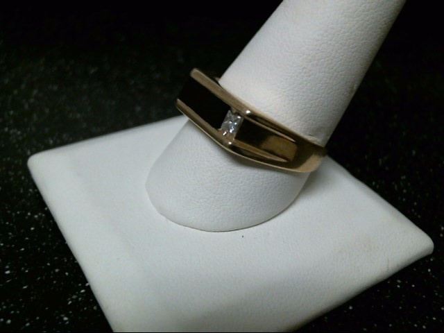 Black Stone Gent's Stone & Diamond Ring .20 CT. 14K Yellow Gold 6.9g Size:10