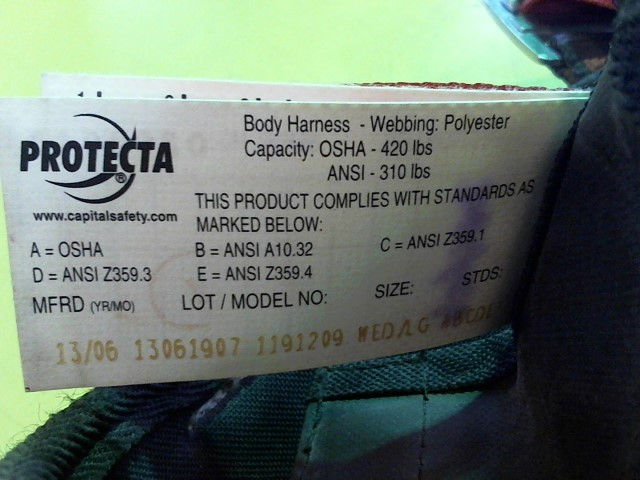 PROTECTA Miscellaneous Tool 1191209 FULL BODY HARNESS