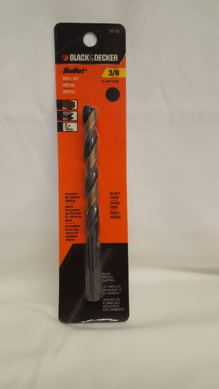 "Black & Decker 19110 Black Oxide Bullet Drill Bit, 3/8"""