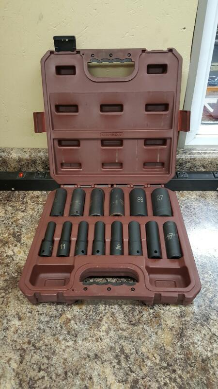 "Matco Tools SCDPM146V, 14pc 1/2"" Dr. Metric 6pt Deep Impact Socket Set"