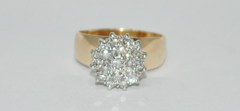 10K Yellow Gold Polished Wide Band Basket Set Diamond Cluster Statement Ring sz9