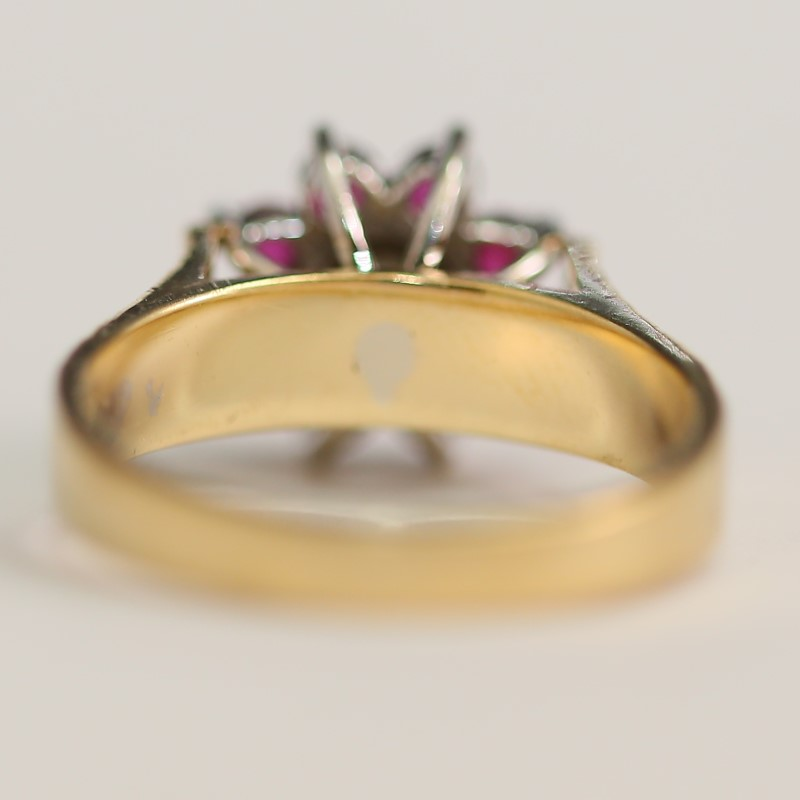 14K Yellow Gold Round Ruby and Brilliant Diamond Ring Size 7