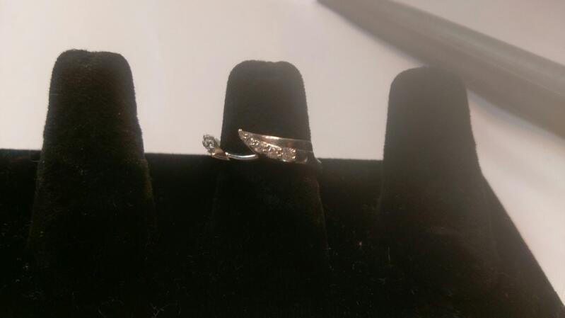 Ladies Ring Guard White gold 14k- Diamonds