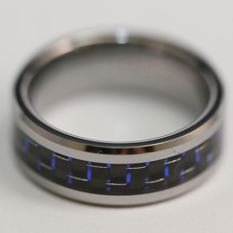Tungsten Black/Blue Centered Unisex Band Size 9