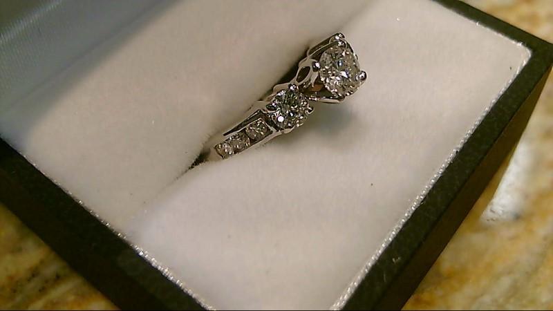 Lady's Gold-Diamond Anniversary Ring 9 Diamonds .83 Carat T.W. 14K White Gold