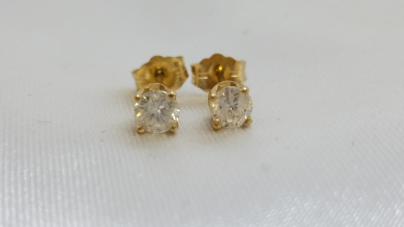 Gold-Diamond Earrings 2 Diamonds .53 Carat T.W. 18K Yellow Gold 1g