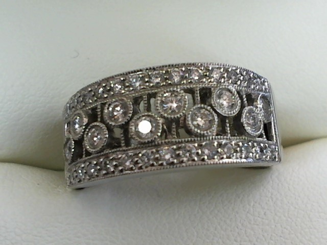 Lady's Diamond Wedding Band 36 Diamonds .56 Carat T.W. 14K White Gold 6.9g