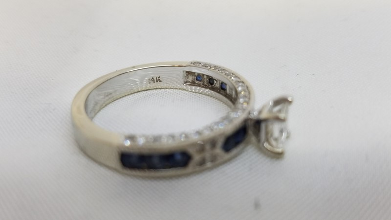 Sapphire Lady's Stone & Diamond Ring 53 Diamonds .92 Carat T.W. 14K White Gold