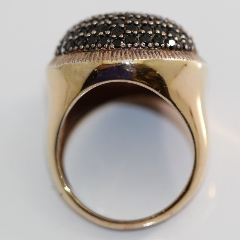 Gold Tone Sterling Silver Round Cut Onyx Cluster Statement Ring