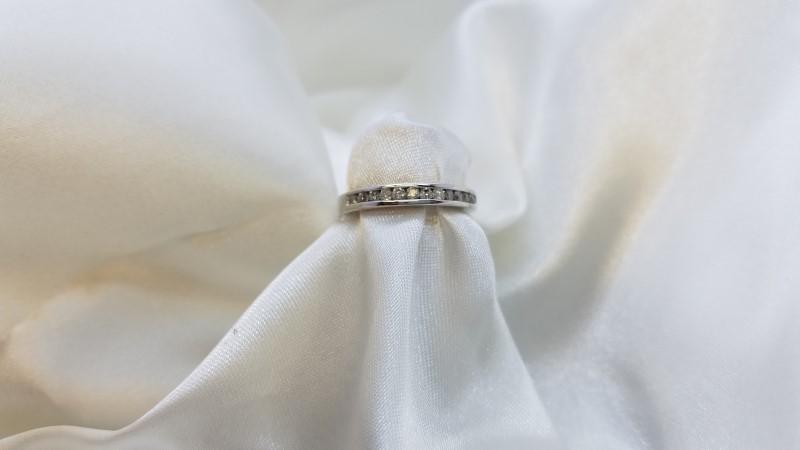 Lady's Diamond Channel Anniversary Ring 12 Diamonds .60 C.T.W. 14K White Gold