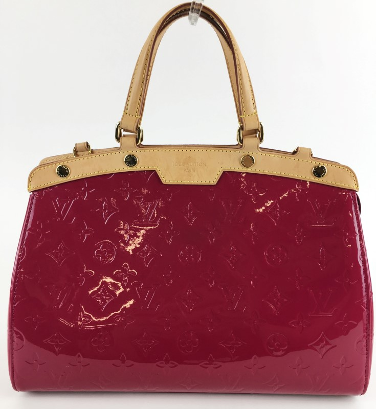 LOUIS VUITTON BREA MM MONOGRAM VERNIS ROSE HANDBAG