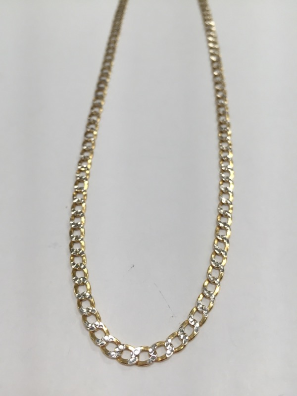"22"" Gold Curb Chain 10K 2 Tone Gold"