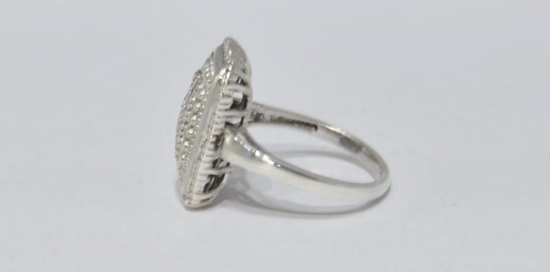 Sterling Silver Diamond Encrusted Rectangular Statement Milgrain Ring 6.75