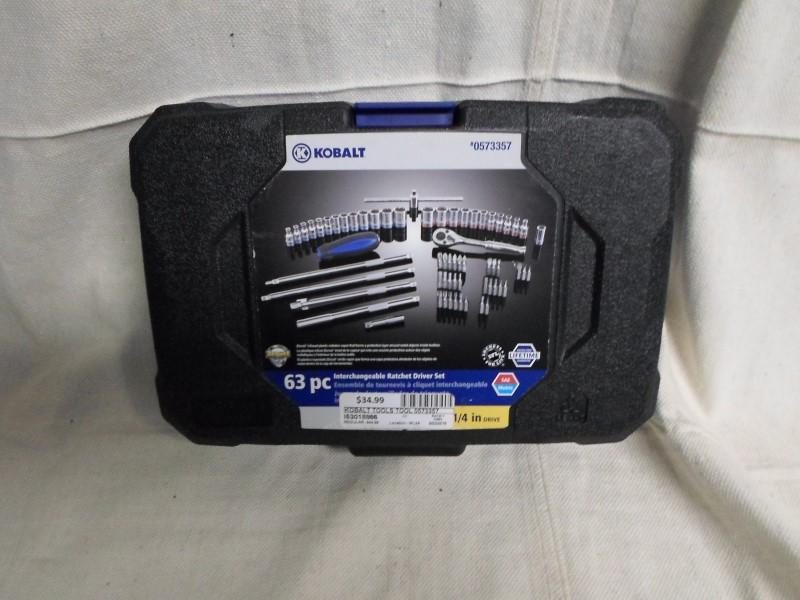 "KOBALT TOOLS 0573357 63pc Socket Set. 1/4"" Drive."