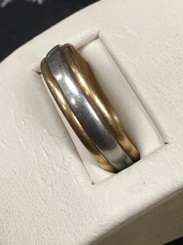 Gent's Gold Wedding Band 10K 2 Tone Gold 4dwt Size:10.5