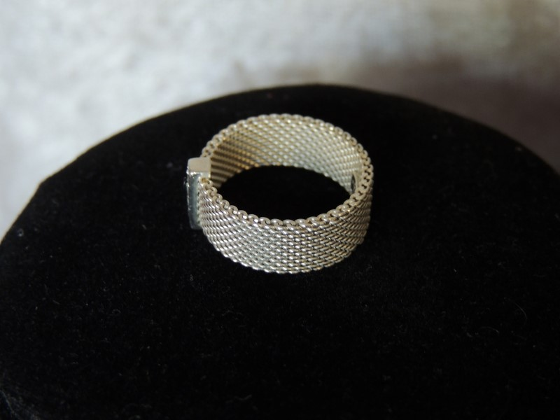 Tiffany Somerset Ring Round Brilliant Diamonds Sterling Silver Authentic