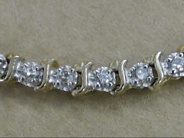 VINTAGE 46 NATURAL DIAMOND TENNIS BRACELET SOLID 14K GOLD 7.5g 7""