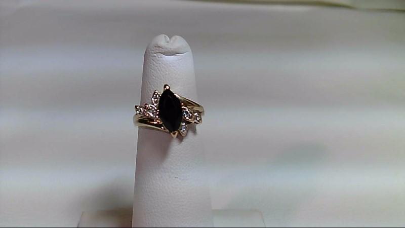 Synthetic Onyx Lady's Stone & Diamond Ring 6 Diamonds .030 Carat T.W.