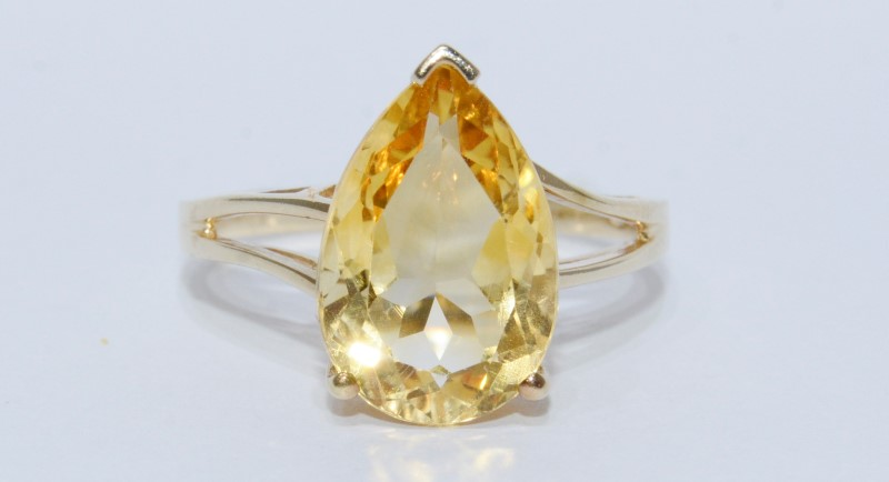 10K Yellow Gold Large Cathedral Set Pear Shaped Citrine Ring-Size 10