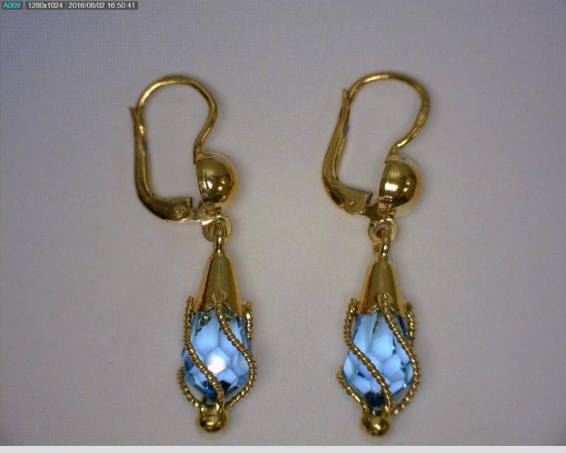 Aquamarine Gold-Stone Earrings 18K Yellow Gold 3.28dwt