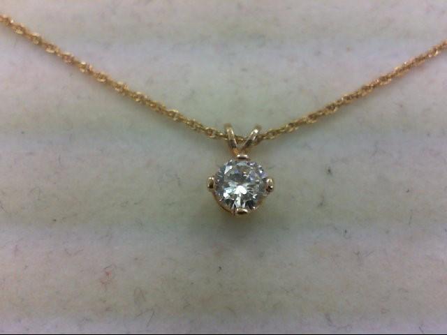 Gold-Diamond Solitaire Pendant .38 CT. 14K Yellow Gold 1.5g