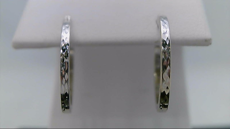 10K White Gold Diamond Cut Hoop Design Earrings