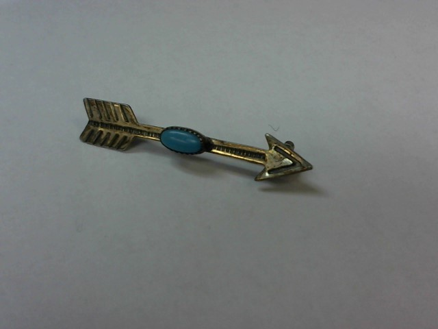 Synthetic Turquoise Silver-Stone Brooch 925 Silver 1.8g