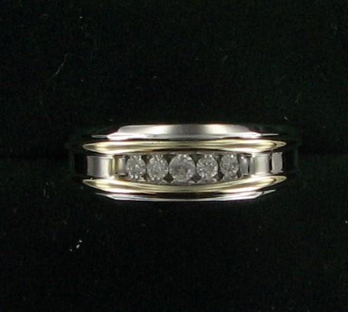 Gent's Gold-Diamond Wedding Band 5 Diamonds .50 Carat T.W. 10K 2 Tone Gold