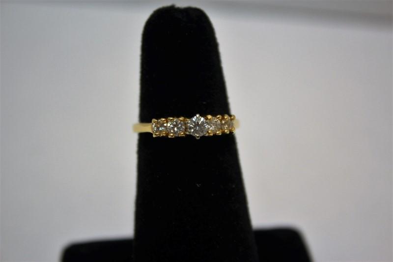 Lady's Diamond Fashion Ring 5 Diamonds .48 Carat T.W. 14K Yellow Gold 3.7g